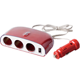Разветвитель прикуривателя Intego 3 гнезда USB син