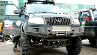 Бампер OJ передний УАЗ Патриот с площадкой без кенгурина под п/т фары 2014+, накладки