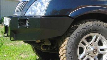 Бампер OJ передний Road Partner c площадкой и вырезами под ПТФ