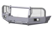 Бампер OJ передний УАЗ Патриот с площадкой,кенгурином,под штатные п/т фары и с кронштейном доп.фар и защитой фар
