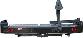 Бампер РИФ задний TLC 100 с квадратом под фаркоп, калиткой и фонарями