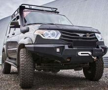 Бампер RIVAL передний УАЗ Патриот 2014+ стальной без кенгурина с местом под противотуманки.