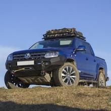 Бампер силовой передний Rival  для VW Amarok алюминиевый (черный с ПТФ)