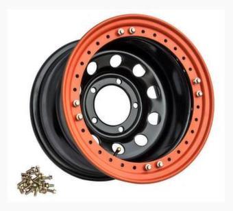 Диск колесный Off-Road Wheels УАЗ R16 5х139.7 ширина 8 вылет -19 черный с бедлоком (оранжевый)