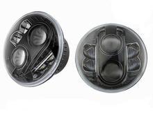 Фары головные светодиодные LED высокой мощности (черный фон), комплект 2 шт. LR Defender