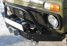 Кенгурин на бампер OJ передний НИВА с площадкой