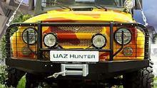 Бампер OJ передний УАЗ Хантер с площадкой и кенгурином лифт (с защитой фар)
