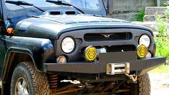 Бампер OJ передний УАЗ Хантер с площадкой под лебедку лифт