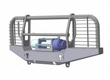 Бампер OJ передний УАЗ Хантер с площадкой и кенгурином стандарт (с защитой фар)
