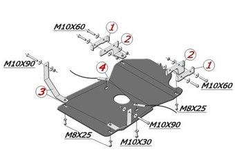 Защита МКПП и РК УАЗ Hunter 2007- 2,7 сталь 2мм